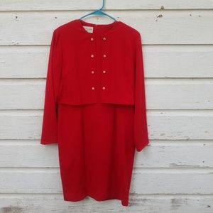 Vintage Evan Picone Red Pearl Button Dress